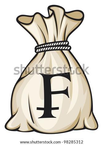 Money Bag with Swiss franc Symbol