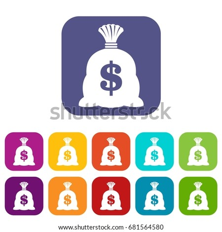 Money bag with US dollar sign icons set vector illustration in flat style in colors red, blue, green, and other