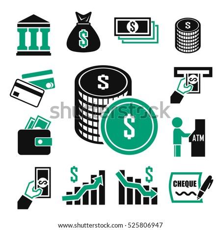 money, bank, investment icons set