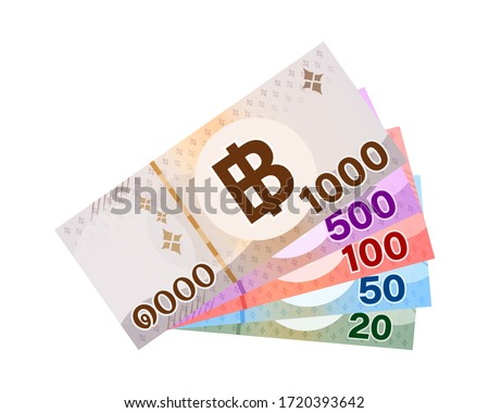 money banknote thai baht isolated on white background, paper money 1000, 500, 100, 50, 20 type, bank note money thai baht for business and finance icon, pile banknote money isolated on white, vector