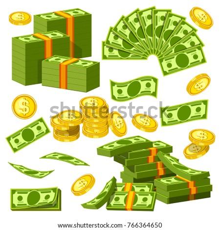 Money banknotes and golden coins bank dollars and cents piles and heaps vector icons
