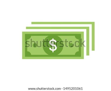Money banknotes banknotes vector. Bill money currency finance dollar illustration. Dollar concept. Money isolated on white background. EPS 10