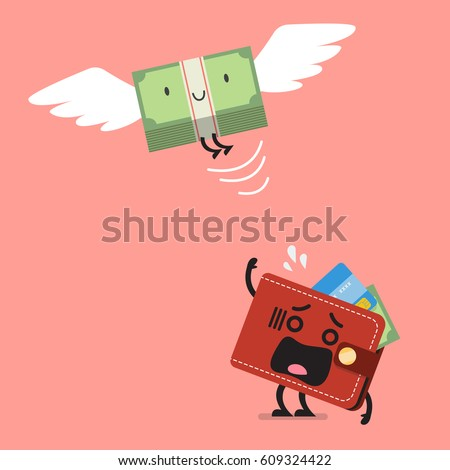 money bill flying out of wallet