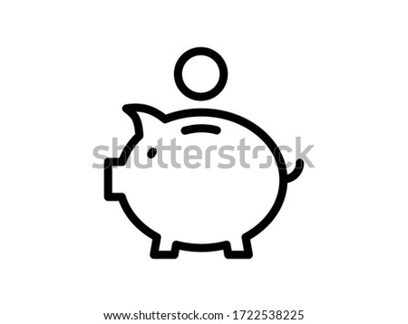 Money box icon. Piggy or coin bank icon. Finance and savings concept. Pig money Box icon. Vector Money box. Piggy Bank savings. Coin into piggy for saving money
