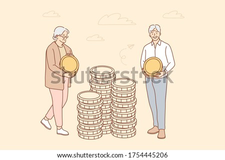 Money, busines, insurance, deposit, saving concept. Deposit accumulation contribution to senior citizen account old age savings illustration. Elder man woman granmother grandfather put coins in stacks