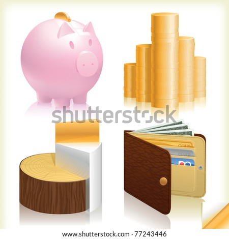 money business finance web icons, realistic set. Vector wallet, golden coins, piggy bank and a special chart with gold silver and wood elements - stock vector