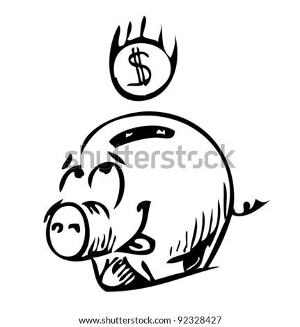 Money cartoon pig money box sketch icon