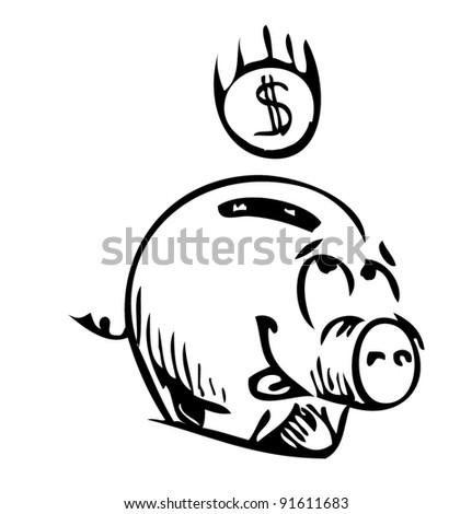 Money cartoon pig moneybox sketch icon
