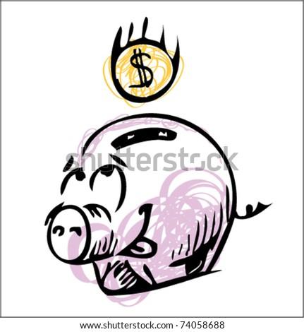 Money cartoon pig sketch color icon