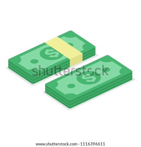 Money - cash icon in flat style. Bills of dollar, stack money symbol. Big pile of cash isolated on white background. Vector illustration of heap green banknote. Rich or Business concept. EPS 10.