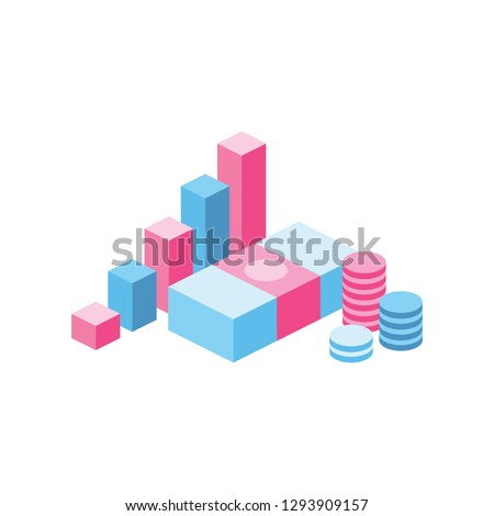 Money chart 3d vector icon isometric pink and blue color minimalism illustrate ストックフォト ©