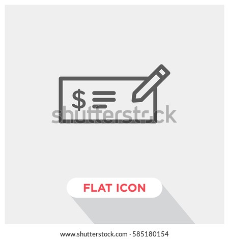 Money check vector icon, invoice symbol. Modern, simple flat vector illustration for web site or mobile app