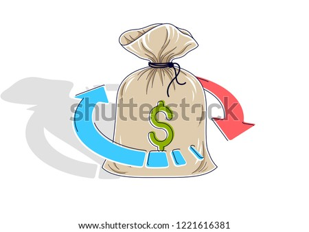 Money circulation, return on investment, currency exchange, cash back, money refund, concepts can be used. Vector illustration of cash money stack with radial loop arrows around, 3d isometric.