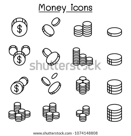 money   coin icon set in thin