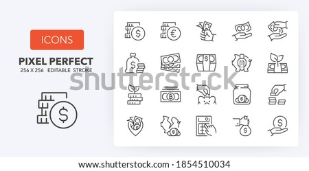 Money, coins and finances thin line icon set. Outline symbol collection. Editable vector stroke. 256x256 Pixel Perfect scalable to 128px, 64px...