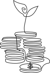 Money, Coins and Sprout. Concept Design Symbolizing Investment Growth. Continuous line vector illustration minimalism style
