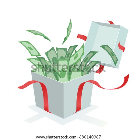 money coming out of the gift box