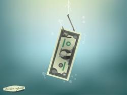 Money concept illustration, US Dollar money paper on fish hook