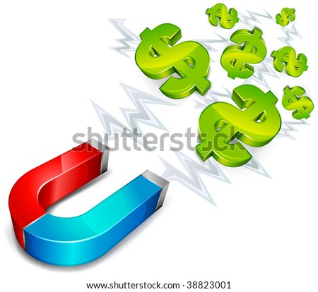 money conceptual illustration, magnet with dollar sign on white background