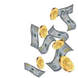 Money confetti. Money are falling down. Money rain. Vector illustration