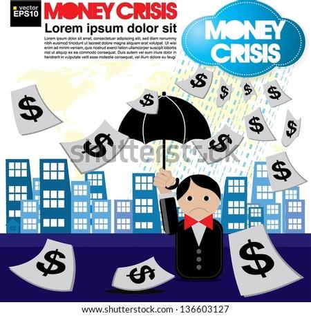 Money crisis conceptual illustration vector.EPS10