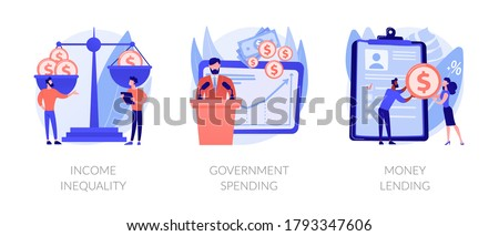 Money distribution abstract concept vector illustration set. Income inequality, government spending, money lending, salary gap, country budget, bank credit, individual loan, welfare abstract metaphor. Photo stock ©