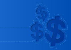 Money Dollar Sign on Blue Background, Vector Illustration