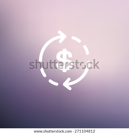 Money dollar symbol with arrow icon thin line for web and mobile, modern minimalistic flat design. Vector white icon on gradient mesh background.