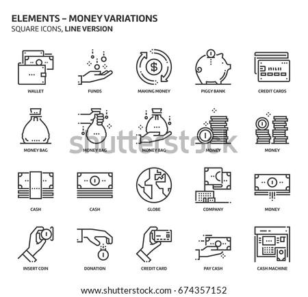 money elements  square icon set