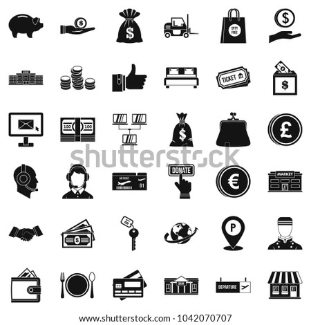 Money encouragement icons set. Simple set of 36 money encouragement vector icons for web isolated on white background