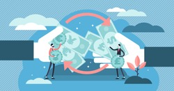 Money exchange vector illustration. Flat tiny financial currency persons concept. Economical process to trade euro, dollar, pound or yen. Abstract global different banknotes transaction trade cycle.