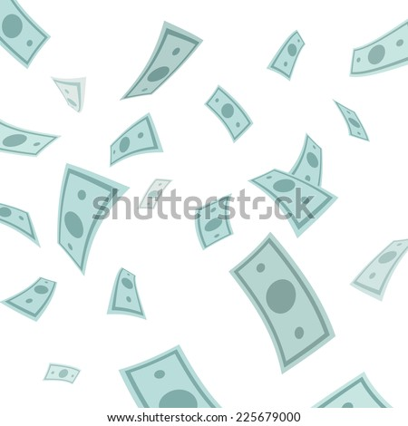 Money falling from above isolated on white background. Vector Illustration.