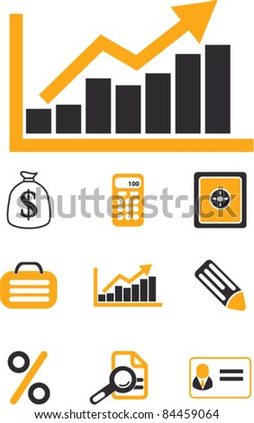 money & finance icons, signs, vector illustrations set
