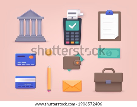Money, finance, payments. Collection of business workflow items and elements, finance and marketing objects. 3D Vector Illustrations.