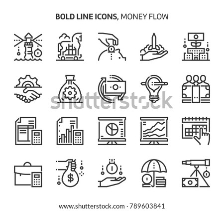 Money flow, bold line icons. The illustrations are a vector, editable stroke, 48x48 pixel perfect files. Crafted with precision and eye for quality.