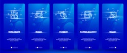 Money flow, Invoice, Payment, Market research, Wallet Vertical Cards with strong metaphors. Template for website design.