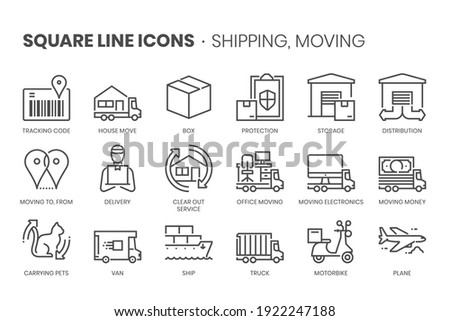 Money flow, square line icon set. The illustrations are a vector, editable stroke, thirty-two by thirty-two matrix grid, pixel perfect files.