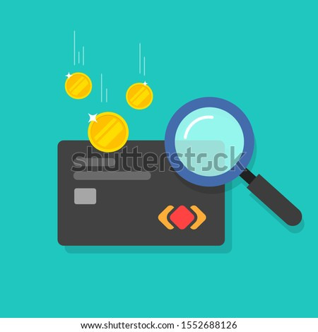 Money fraud verification vector icon, flat cartoon electronic money in debit card investigation via magnifier, suspicious cash analyzing control or check, concept or financial authentication research