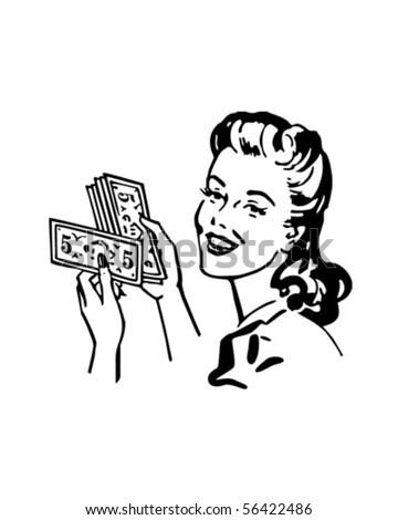 Money Gal - Retro Clip Art