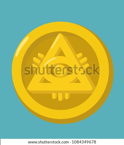 Money gold coin icon. The coin depicts the Masonic symbol - the all-seeing eye.