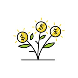 money grow coin leaf growth investment sprout flower logo vector icon illustration