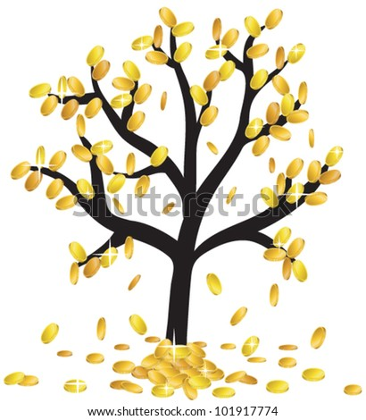 money growing on branches and falling from tree
