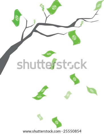 Money Growing on trees - dollar bills and dollar signs growing on branches and falling from tree