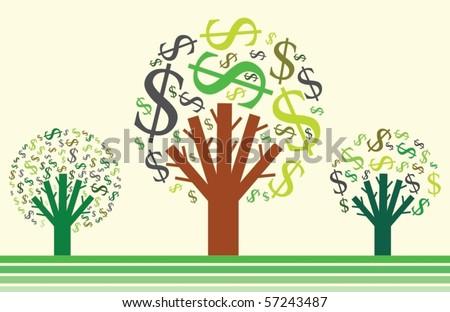 Money growing on trees. Dollar signs. Vector illustration.