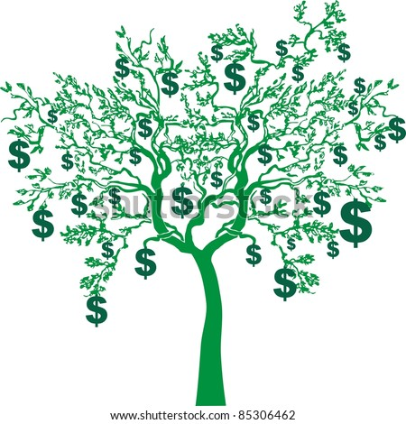 money growing on trees isolated on White background. Vector illustration