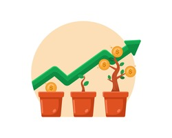 Money growing plant step with deposit coin in bank concept, Investment plant and growth. Planting and growing money in pot