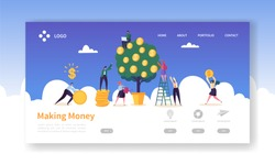 Money Growth Investment Landing Page Template. Business Woman Watering Money Tree. Character Team Collecting Golden Coins. Financial Profit Concept for Website. Flat Cartoon Vector Illustration