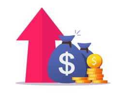 Money growth profit up arrow icon vector flat cartoon, cash benefit, economic inflation value increase, financial earning revenue interest rise symbol, economy investment, concept of budget boost