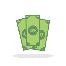 Money icon in flat style. Bank note dollar symbol for your web site design, logo, app, UI Vector EPS 10.