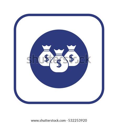 Money  icon,  isolated. Flat  design.